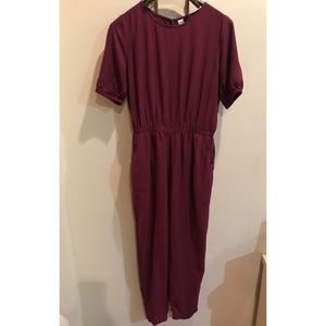 A red/maroon old navy jumpsuit